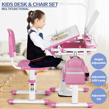 Height Adjustable Kids Study Desk Chair Set Children Table Lamp Drawer Girl Pink