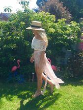 Pink White Lace Split Leg Panel Wrap Skirt Choochie Beach Bohemian Boho Hippy