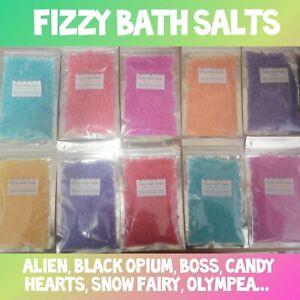 🌠 FIZZY BATH SALTS 🌠 COLOURED FRAGRANCED - Alien Snow Fairy Cherry Candy +more