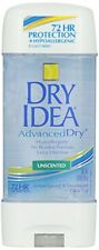 3 Pack Dry Idea Advanced Dry Unscented Antiperspirant & Deodorant Gel 3 Oz Each