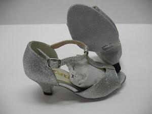 So Danca BL05 Character Dancewear Ballroom Shoes Heels Glitter Silver Kids 12