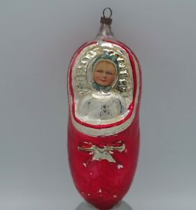 ANTIQUE GERMAN MERCURY GLASS BABY IN A SHOE ORNAMENT SCRAP FACE -LARGE -RARE