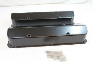 "SB Chevy V8 Valve Covers Fabricated Aluminum Tall 1/4"" Rail SBC 327 350 383 400"