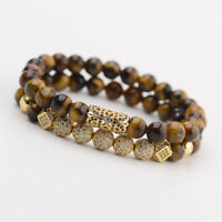 Luxury Micro Pave CZ Balls King Crown Charm Beads Bracelets Men Tiger Eye Stone