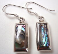 Abalone Reversible Mother of Pearl Bars Dangle Earrings 925 Sterling Silver