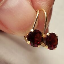 14K Yellow Gold Dangle/Drop Earrings w/ SPARKLY Garnets - Excellent Cond.