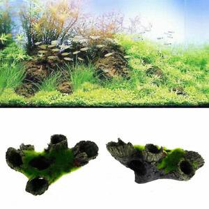 Aquarium Rock Cave Decoration with Grass for Fish Shrimp Hiding Rock Ornament~