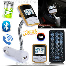 Wireless Bluetooth FM Transmitter Car Mp3 Player LCD USB Port Mobile Charger Kit Style 2 Gold