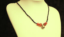 Pretty Small Black Beads Red Orange Pearl Necklace 1980'