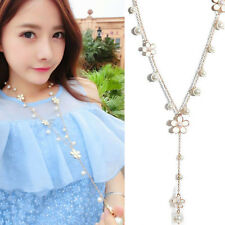 Ladies Elegant Pearl Flower Sweater Chain Long Pendant Necklace Fashion Jewelry