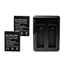 2 x 1050mAh Battery + Charger for GoPro AHDBT-301 201 HD HERO 3 3 + black P D7W8