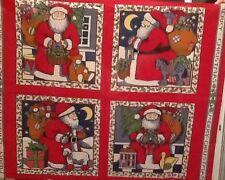 Susan Winget Vintage Christmas Fabric Pillow Project Panel Santa Cottage