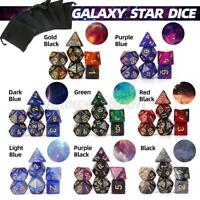 8 Color 7Pcs Shiny Acrylic Polyhedral Dice DND RPG MTG Role Playing Game w/ Bag