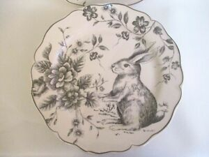 Maxcera Gray & White Toile Bunny Easter SALAD / SIDE Plates ~ Set of 2 ~ New