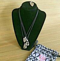 Brighton Brazilian Triple Strand Silver Hearts Necklace