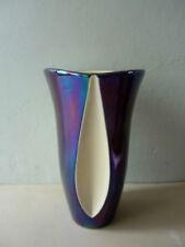 vase en céramique nacrée bicolore, noir et blanc, Verceram, vintage années 60