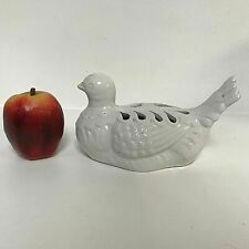 Vintage Open Work Italian Pottery White Glaze Pigeon Bird Figurine