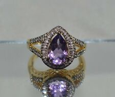Exquisito 3.50Ct. Amatista Natural Original 1/4 Ct. Diamante Anillo de Cóctel