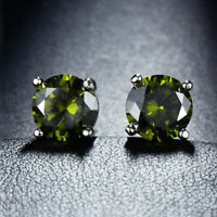 Natural Oliver Peridot Gemstone Silver Woman Stud Hook Earrings Holiday Jewelry