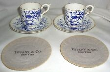 COALPORT FROM TIFFANY & CO CAIRO BIRDS BLUE W/ GOLD TRIM DEMITASSE CUP & SAUCER