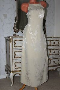 (S7) PRINCIPLES cream full length side slits ladies evening party dress size 14