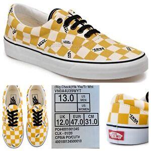 Vans Era Big Check Yolk Yellow White Skate Board Shoes VN0A4U39WYT Men's Size 13