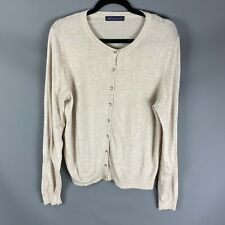 M&S Size 16 Cardigan Oatmeal Beige Neutral Round Neck Buttoned Long Sleeved