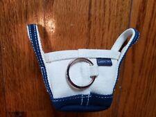 Lands' End Key Chain Mini Canvas Tote Bag Blue Beige