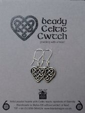 Knots and Sterling Silver Earwires Welsh Pewter hearts with Celtic