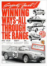 MG MGB LE MANS RACER 1963 RETRO POSTER A3 PRINT FROM CLASSIC ADVERT