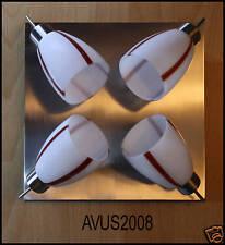 ♥ 4er Spots Deckenleuchte Deckenlampe nickel / Glas rot/weiß 4xG9 je max. 40Watt