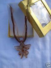 Pendentif  collier verre étoile couleur topaze