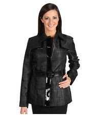 NWT-$239 AK Anne Klein Metallic SILVER Zip Trench Coat Jacket Belted XL 14W-NEW
