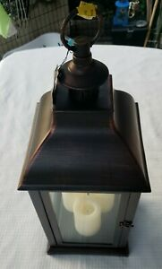 """Candle Impressions 23"""" indoor/outdoor lantern w/ 3 candles antique bronze"""