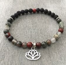 Anklet Jasper Bead Lava Stone Ankle  Bracelet Aromatherapy Lotus Sterling Charm