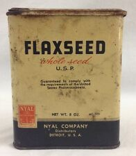 NYAL VTG Flaxseed Whole Seed 8oz Spice Tin USP MC505 Detroit
