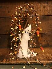 Vintage Primitive Halloween Fabric Ghost Pip Berry Tree Candy Corn