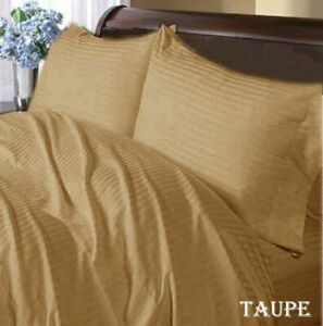 1000 TC Egyptian Cotton Home Complete Bedding Items All UK Sizes Taupe Striped