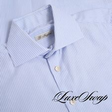 #1 MENSWEAR LNWOT G. Inglese Deluxe Hand Made Blue Stripe Spread Shirt 14.5 #9