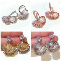 Sterling Silver Post/Pearl in Shell Dangling Earring/Simulated Diamond/E819/859