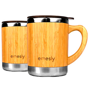Stainless Steel Bamboo Coffee Mugs Double Wall Insulated Travel (Set of 2) 11 oz
