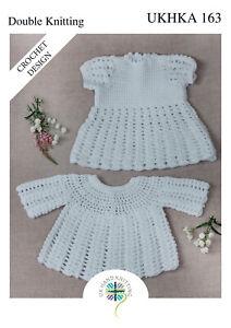 UKHKA 163 Baby Dress & Angel Top Crochet Knitting Pattern