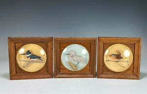 Lot of Three Old William Reinbold Carved Bird Carvings Diorama Decoy