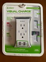 Atomi Visual Charge USB Wall Plate Charger & Power Outlet New