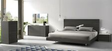 Elegant Design Faro Natural Gray Lacquer 5Pcs King Size Bedroom Set Furniture