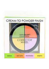 City Color Cream to Powder Finish Corrector Wheel Green Orange Yellow Purple