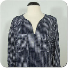 KENAR Woman Printed Navy/White Blouse, 3/4 Sleeves,V-Neck, 100% Rayon, size 1X