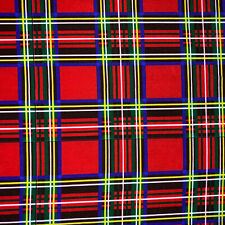 Royal Scottish Red Tartan Check Punk Vintage Retro Print 4 Way Spandex Fabric