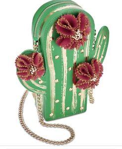 $88  BETSEY JOHNSON Kitsch Lookin Sharp Cactus Crossbody Bag UC9