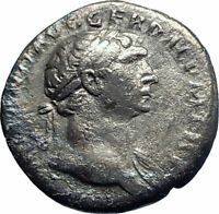 TRAJAN 115AD Authentic Ancient Silver Roman Coin Equality Aequitas i77326
